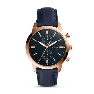Fossil Watches Fossil Townsman Chronograph Navy Leather Watch 44mm FS5436P