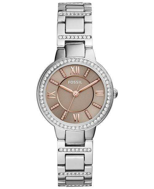 Fossil Watches Fossil Women's Virginia Crystal Stainless Steel Bracelet Watch 30mm ES4147
