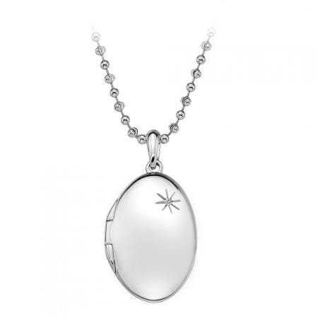 Hot Diamond Necklace Confident Oval Engraveable Locket Necklace