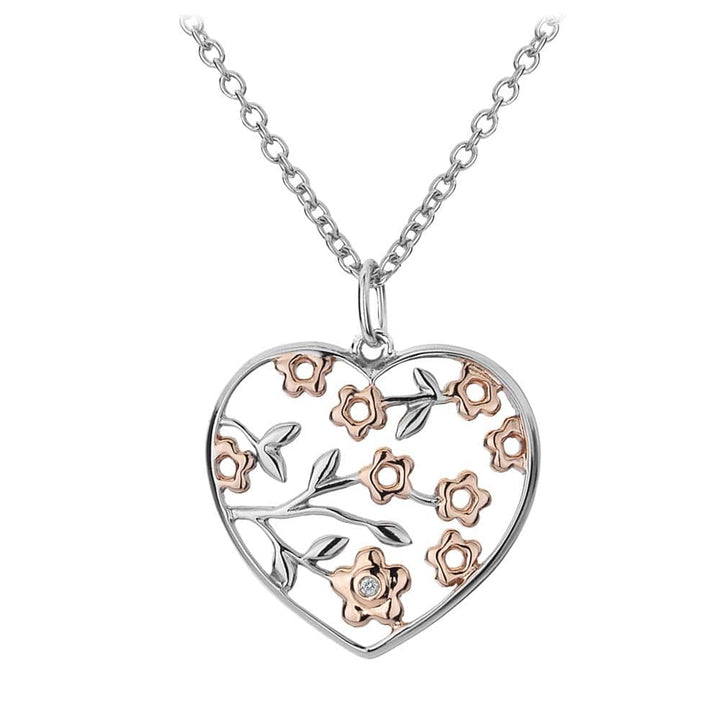 Hot Diamond Necklace Shades of Spring 18ct Rose Gold Small Heart Pendant