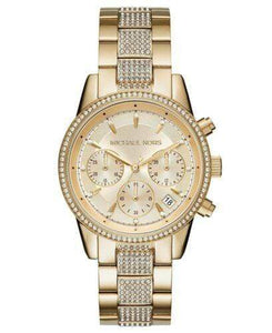 Michael Kors Watches Michael Kors Ritz Pave Chronograph Crystal Gold Dial Ladies Watch 37mm MK6484