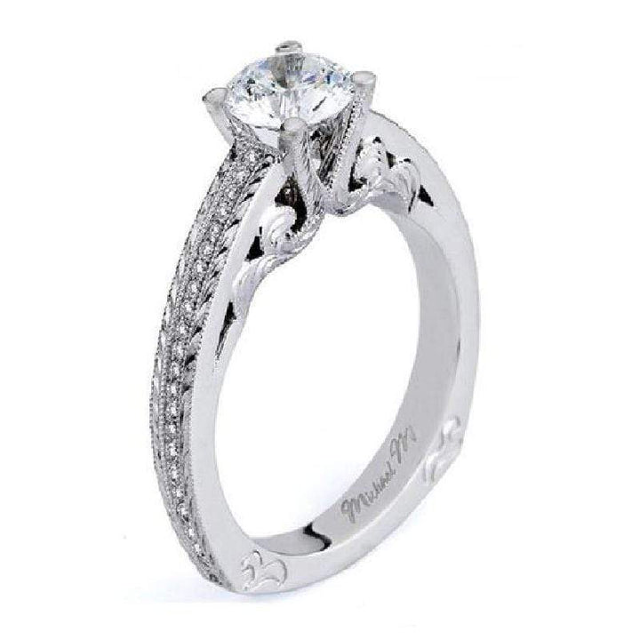 Michael M Engagement Ring Michael M Scroll Pattern Diamond Engagement Ring R576-1 18K