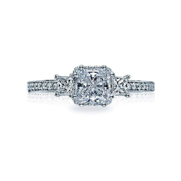 Tacori Engagement Ring Tacori Dantela Three Stone Princess Cut Diamond Ring 18K