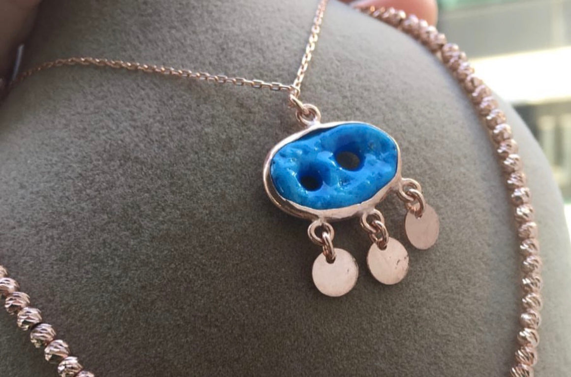 Turquoise Coined Eye Necklace