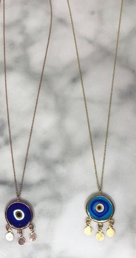 Drop coin Evil Eye Necklace