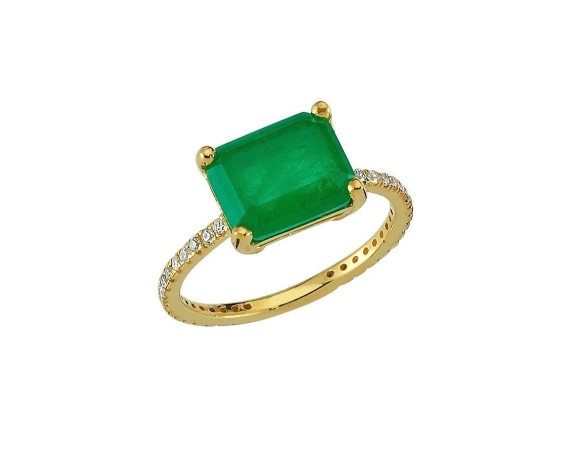 Emerald Pave Band Ring