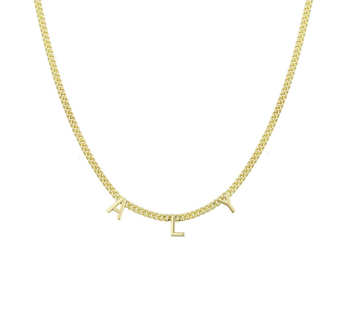 Name Necklace On Link Chain