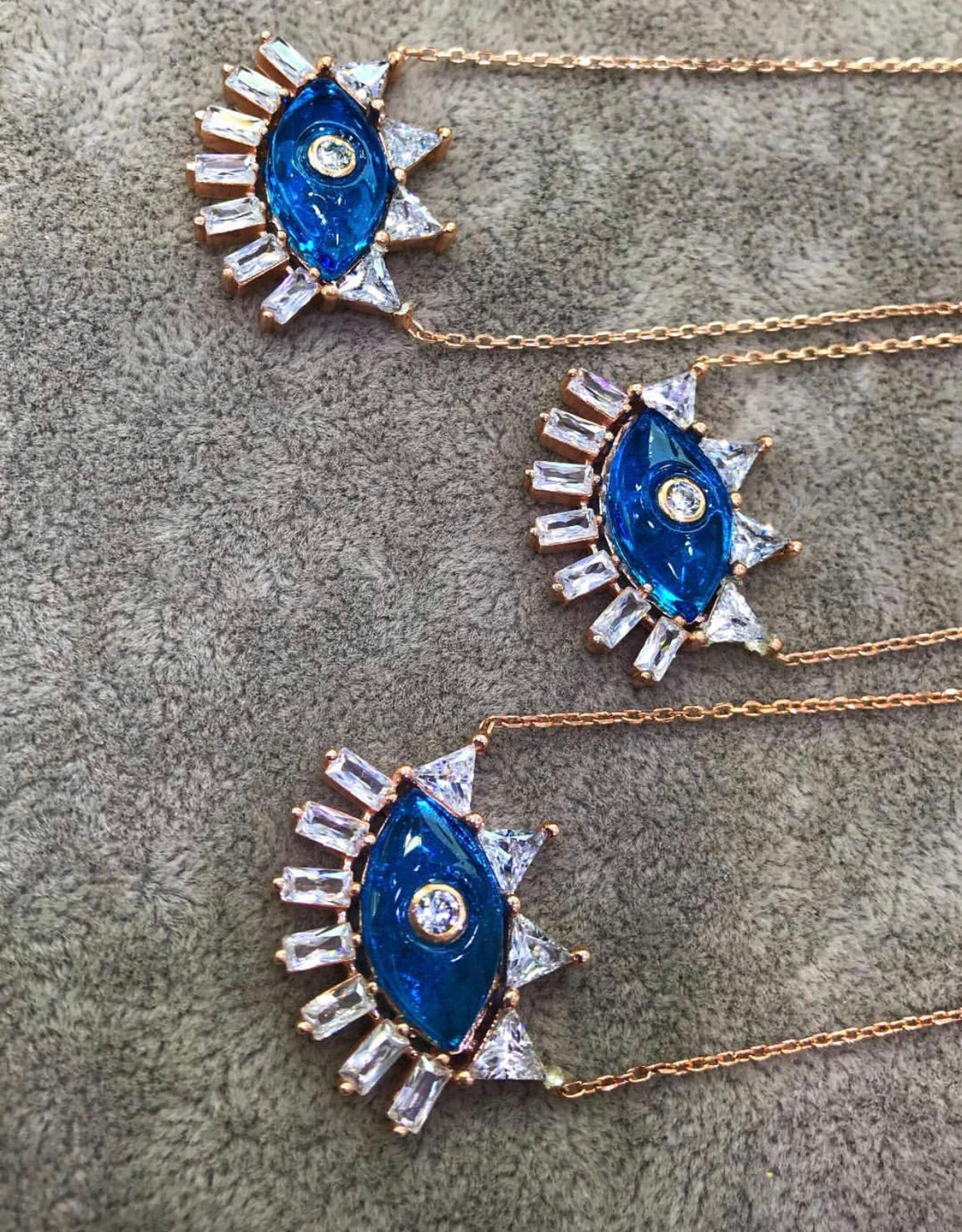 Rose Gold And Blue Eye Necklace
