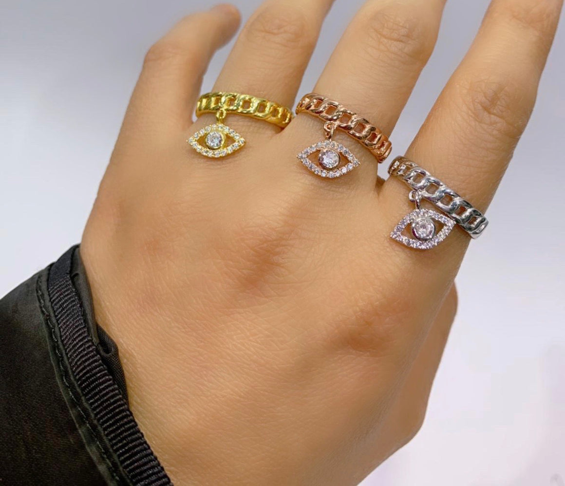 Adjustable evil eye charm ring