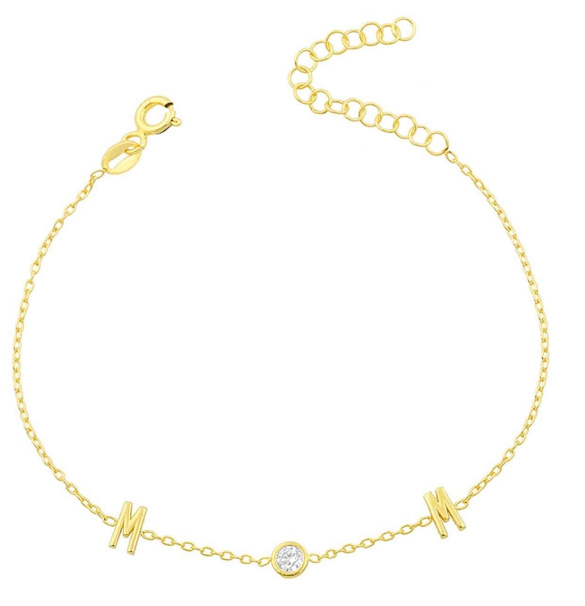 Dainty MOM bracelet with CZ center