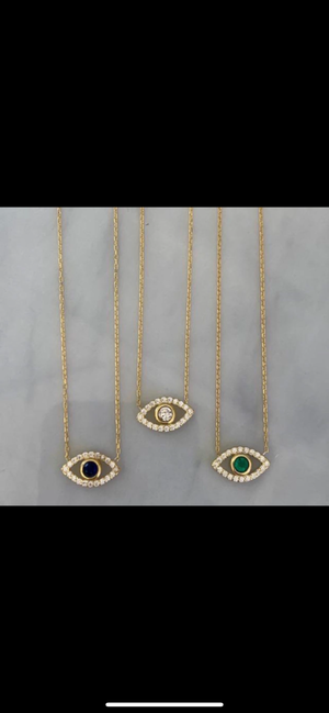 STERLING SILVER GOLD PLATED SIMPLE EYE NECKLACES
