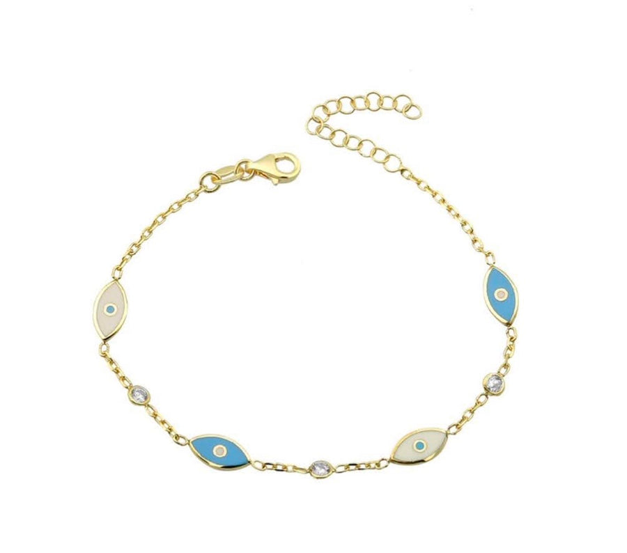 Blue and white enamel dainty evil eye bracelet