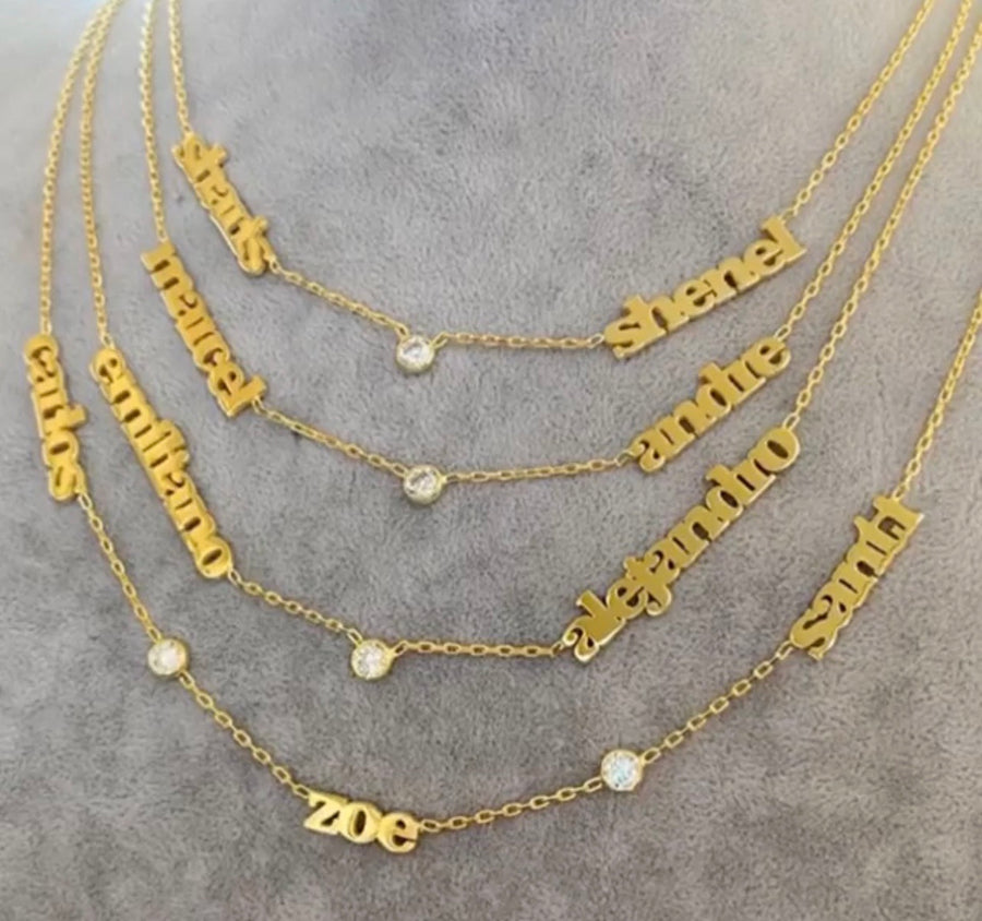Personalized Name Necklace with CZ
