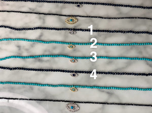 Dainty beaded choker/necklace with eye charm
