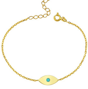 Evil Eye Bracelet with Turquoise Center