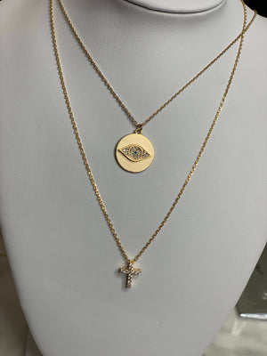 Disc with eye necklace