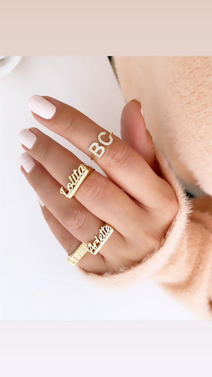 Personalized Script Ring