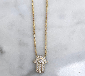 SILVER 18K GOLD PLATED DAINTY HAMSA NECKLACE
