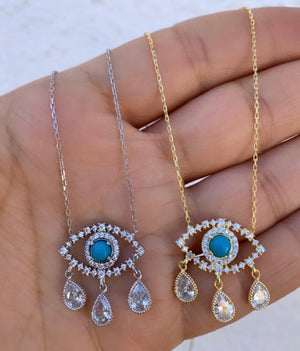 Gold plated drop evil eye necklace