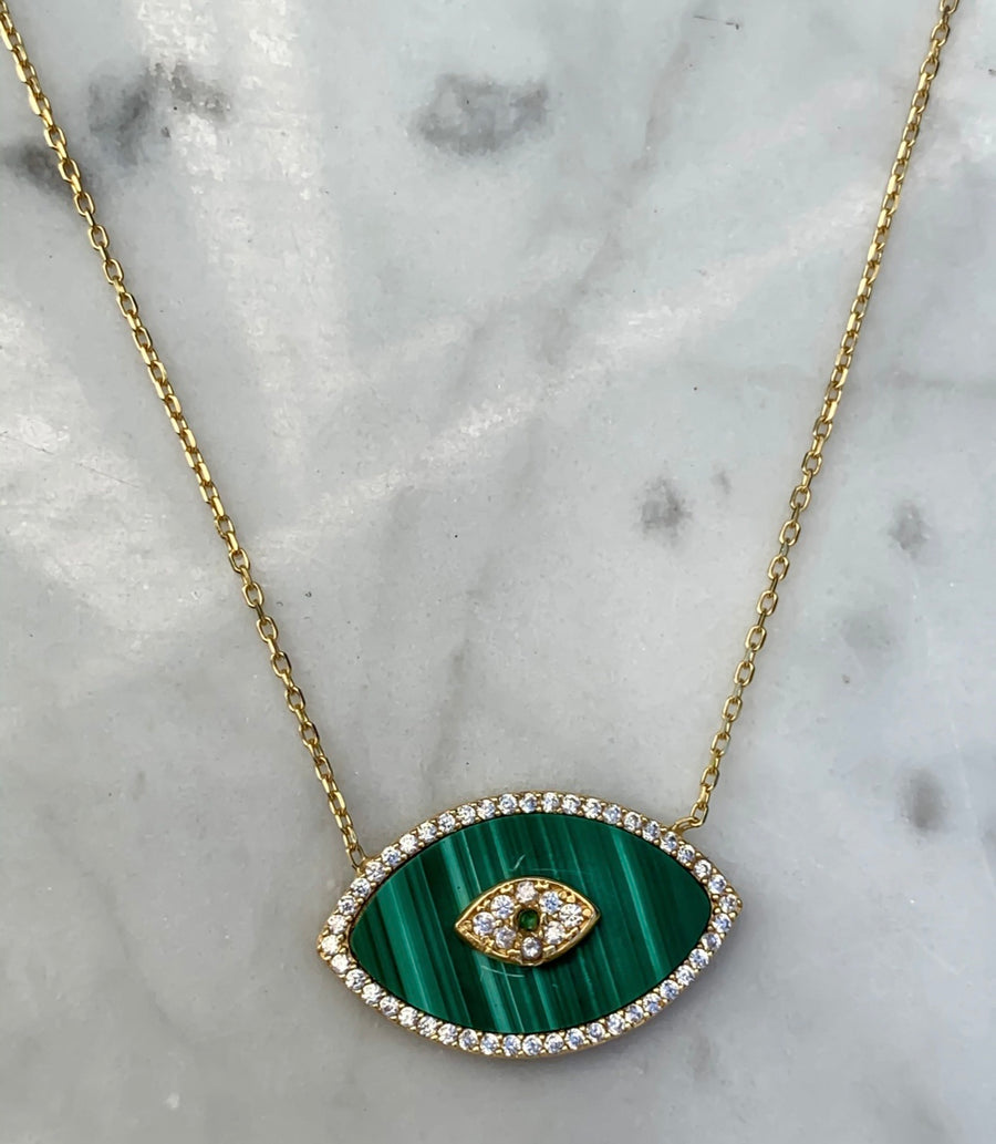 Malachite Stone Eye Necklace