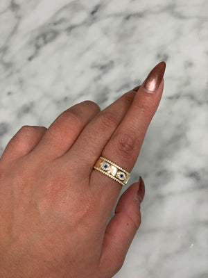 Golden Goddess Eye Eternity Band