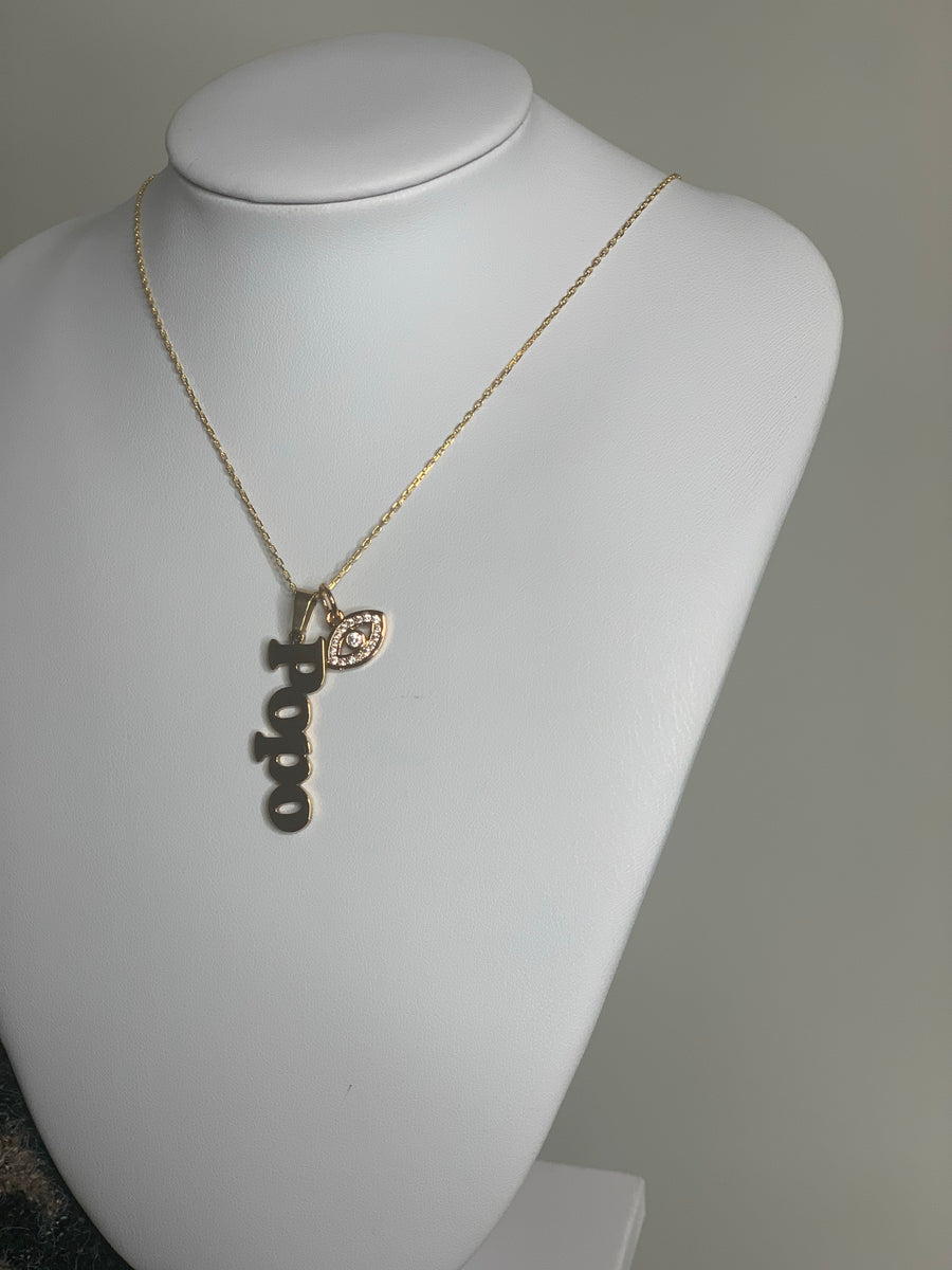 Vertical name necklace with eye charm