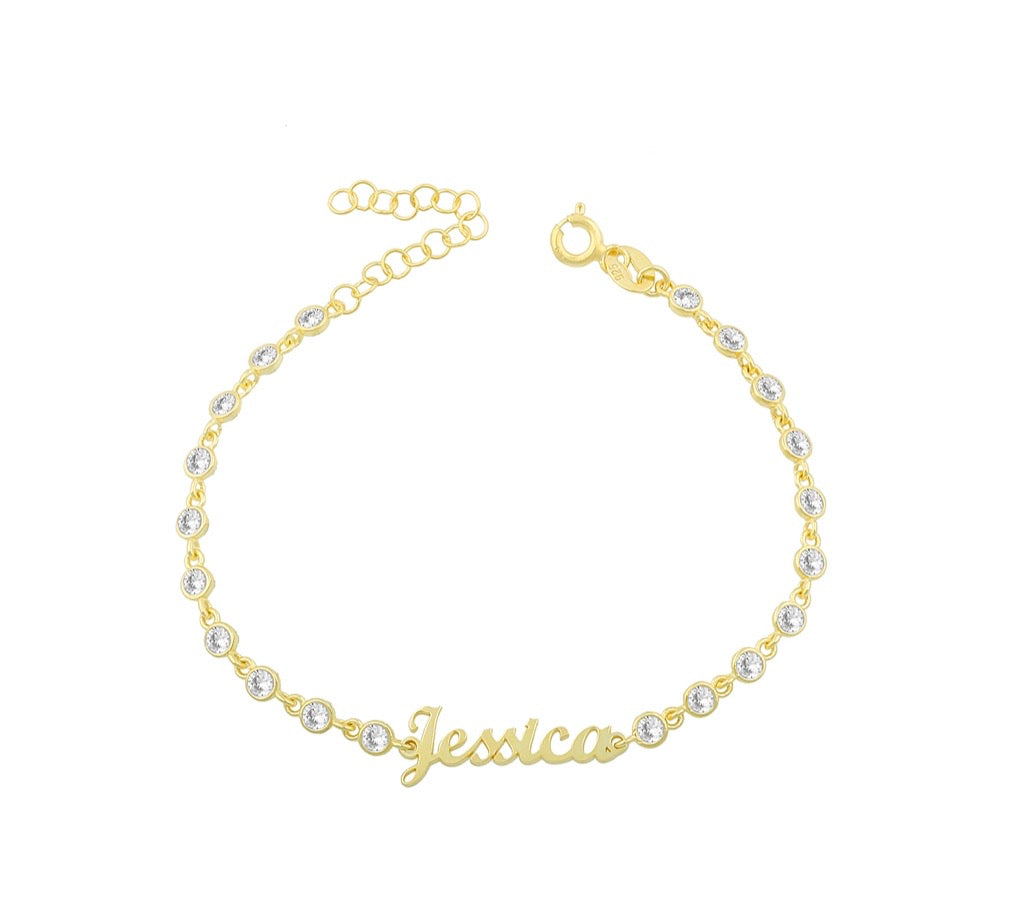 Name Full Dainty CZ Bracelet
