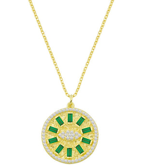 Round Disc and Baguette Eye Necklace