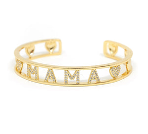 Gold and Crystal Heart Mama Cuff