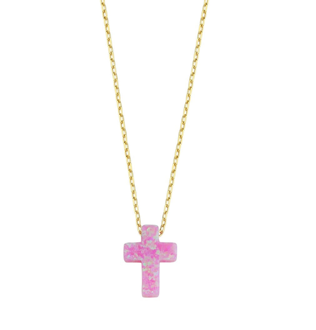 Opal Cross Necklace