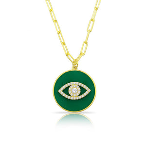 Enamel With CZ Eye Pendant