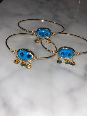 Turquoise coined eye bangle