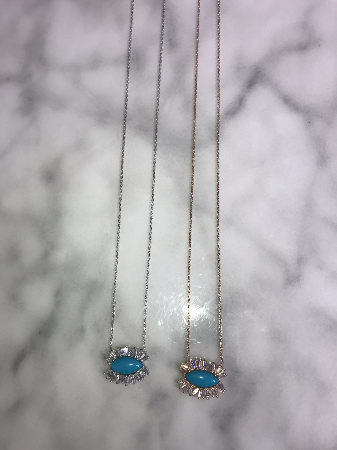 Blue Eye Baguette Necklace