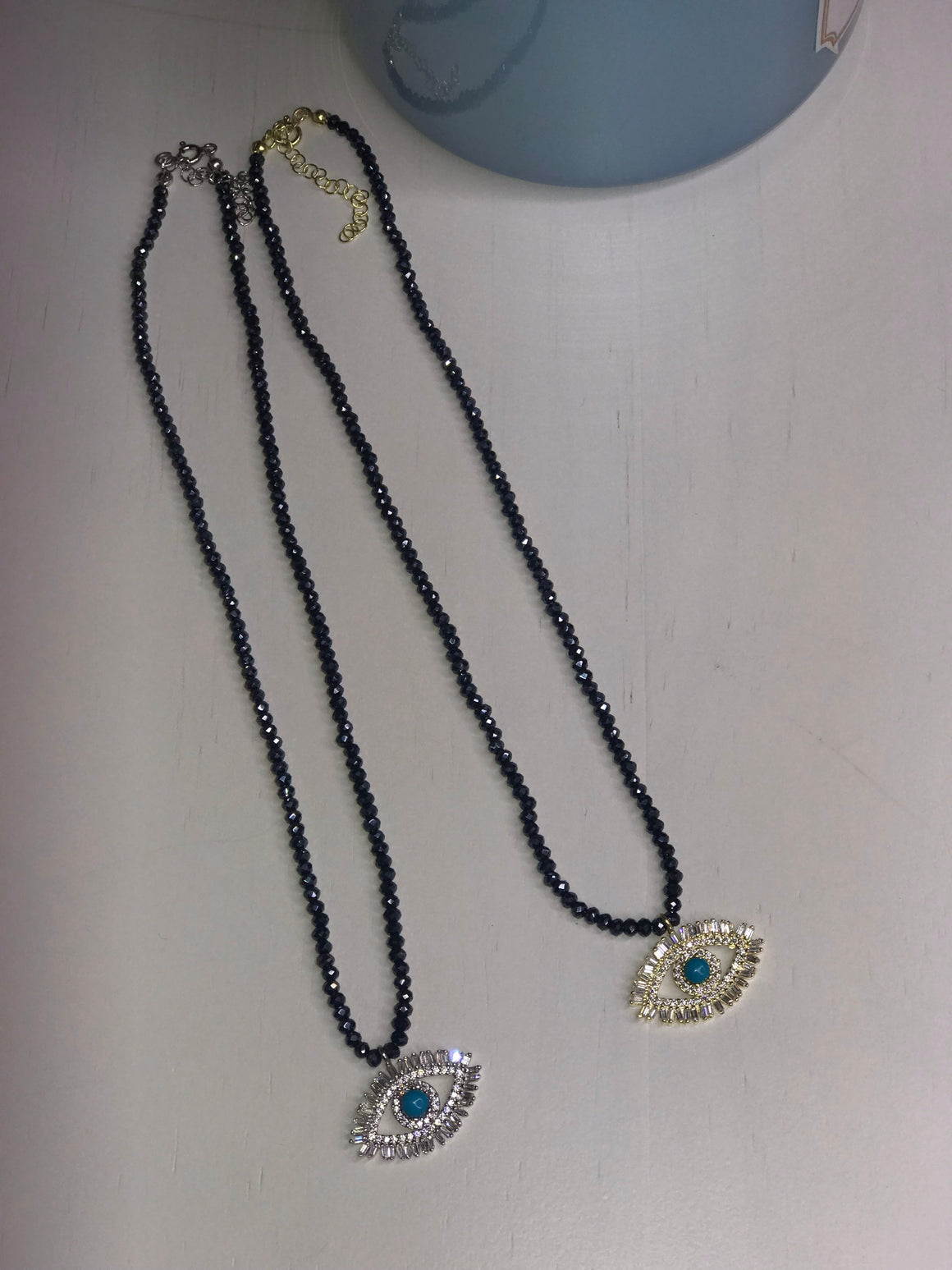 Beaded eye baguette necklace