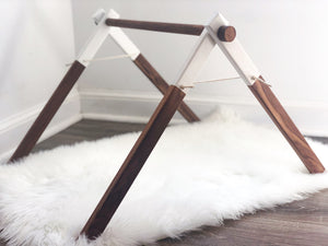 Walnut Baby Gym with White Tips