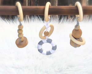 Wooden Baby Gym in Dark Stain
