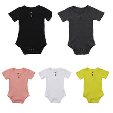 Load image into Gallery viewer, Newborn- 18M Short Sleeve Henley Ribbed Bodysuit
