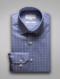 Hardy Amies HA388SF - Navy Check ( Online Only )