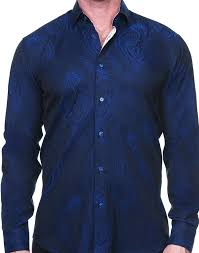 Maceoo Shirt - Royal Blue Paisley