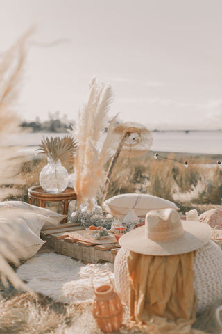 Golden hour picnic with pampas grass and other dried florals