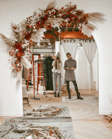 Dried floral arch arrangement for homes, boutiques, weddings, and events