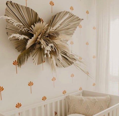 Custom dried floral wall hang using pampas grass and dried palms for boho, minimalist wall decor