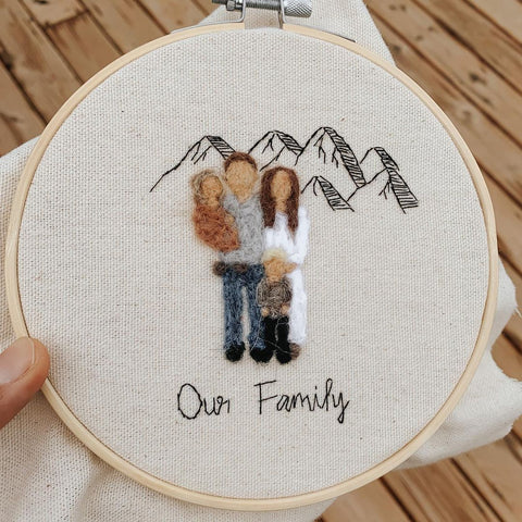 Hand embroidered family portrait, neutral tones, minimalist home decor and perfect gift for your family