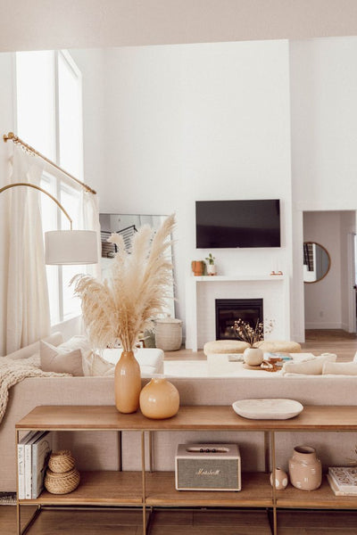 Living room dried pampas grass makeover inspiration. Dried pampas grass, ceramics, minimalist and boho home decor ideas
