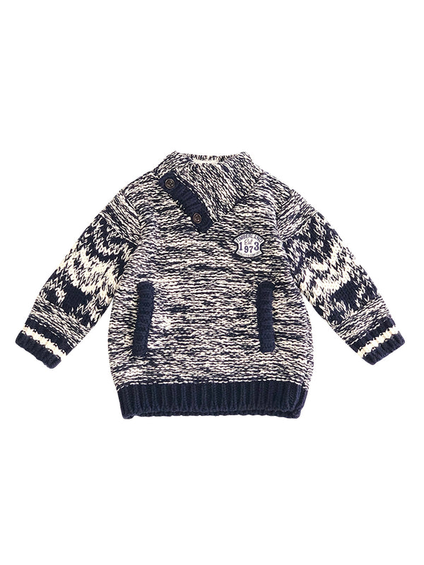Pull tricot Madrid chiné - col montant