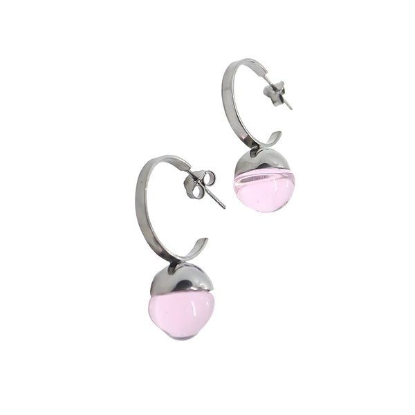 Gus Earrings in silver and pink
