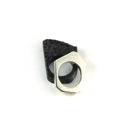 GEOMETRIC SILVER AND GRANITE RINGS