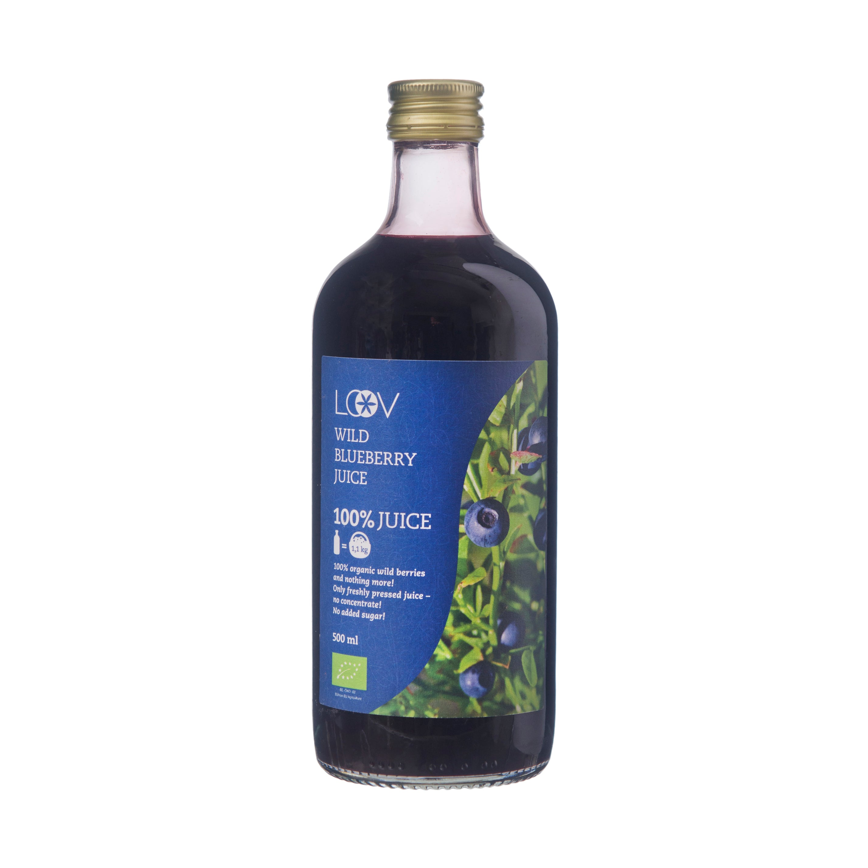 Organic Wild Blueberry Juice, 500ml