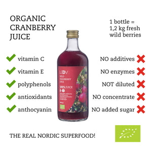 Organic Wild Cranberry Juice, 500ml