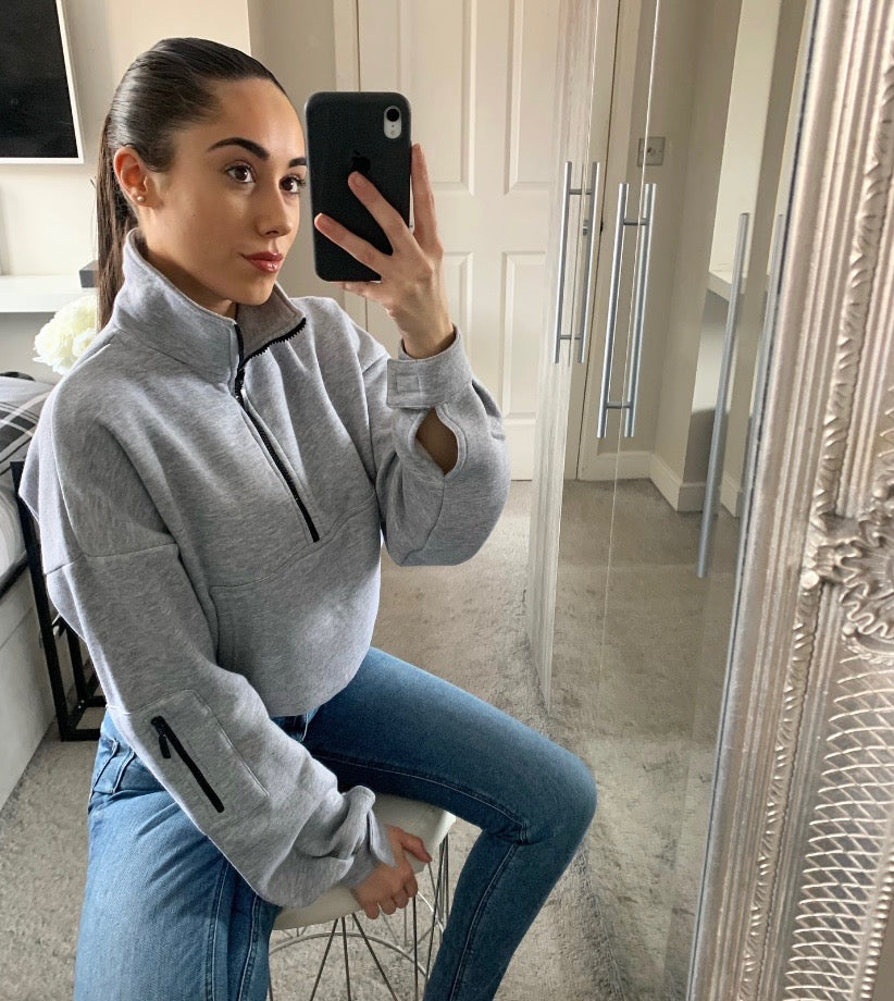 BASIC FLEECE FUNNEL NECK SWEATSHIRT - GREY